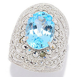 186-944 - Dallas Prince Sterling Silver Choice of Gemstone & Chrome Marcasite Ring - 186-944