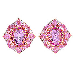 Victoria Wieck 7.24ctw Kunzite, Pink Sapphire, Ruby & Zircon Stud Earrings