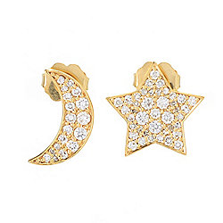 Beverly Hills Elegance® 14K Yellow Gold 0.52ctw Diamond Star & Moon Stud Earrings - 187-003