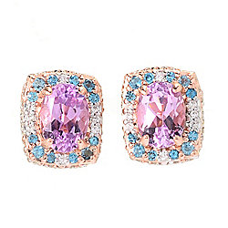 Victoria Wieck 4.10ctw Kunzite, London Blue Topaz & White Zircon Stud Earrings