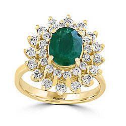EFFY 14K Yellow Gold 2.54ctw Diamond & Oval Cut Emerald Ring - Size 7