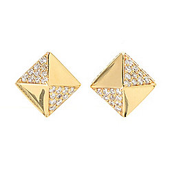 Beverly Hills Elegance® 14K Yellow Gold 0.30ctw Diamond Pave Pyramid Stud Earrings
