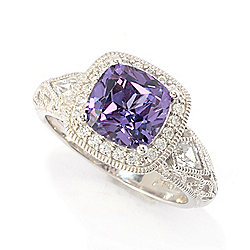 Victoria Wieck for Brilliante® 8mm Simulated Alexandrite & Simulated Diamond Halo Ring