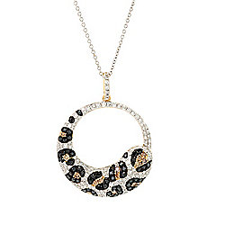 "EFFY ""Confetti"" 14K Gold 1.04ctw Multi Diamond Animal Print Pendant w 18"" Chain"