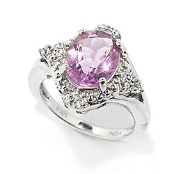 Gemporia 3.09ctw 10 x 8mm Pink Fluorite & White Zircon Ring