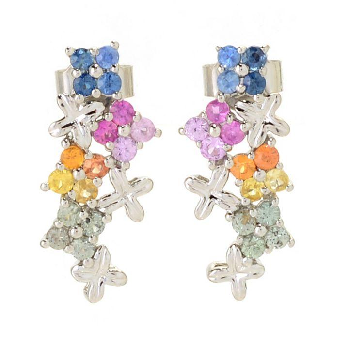 187-251 Gemporia 1.28ctw Multi Color Sapphire Flower Cluster Drop Earrings