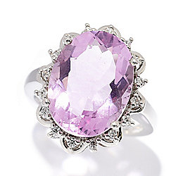 Gemporia 10.86ctw 16 x 12mm Pink Flourite & White Zircon Ring