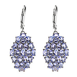 "Gemporia 1.5"" 6.40ctw Tanzanite Cluster Drop Earrings"