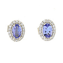 Gemporia Tanzanite & White Zircon Halo Stud Earrings