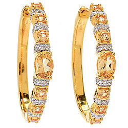 "Gem Treasures® 1"" 2.14ctw Imperial Topaz & White Zircon Hoop Earrings"