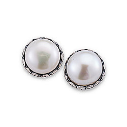 Artisan Silver by Samuel B. 9mm Freshwater Cultured Pearl Studs