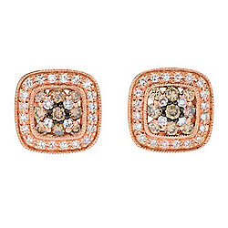 EFFY Espresso 14K Rose Gold 0.57ctw White & Espresso Diamond Stud Earrings