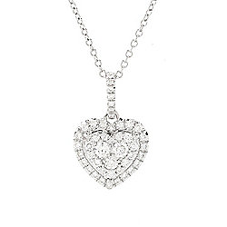 "EFFY 14K White Gold 0.44ctw Diamond Heart Pendant w/ 16"" Chain & 2"" Ext"