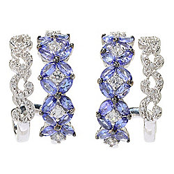 Gem Treasures® 2.93ctw Tanzanite & White Zircon Double Hoop Earrings
