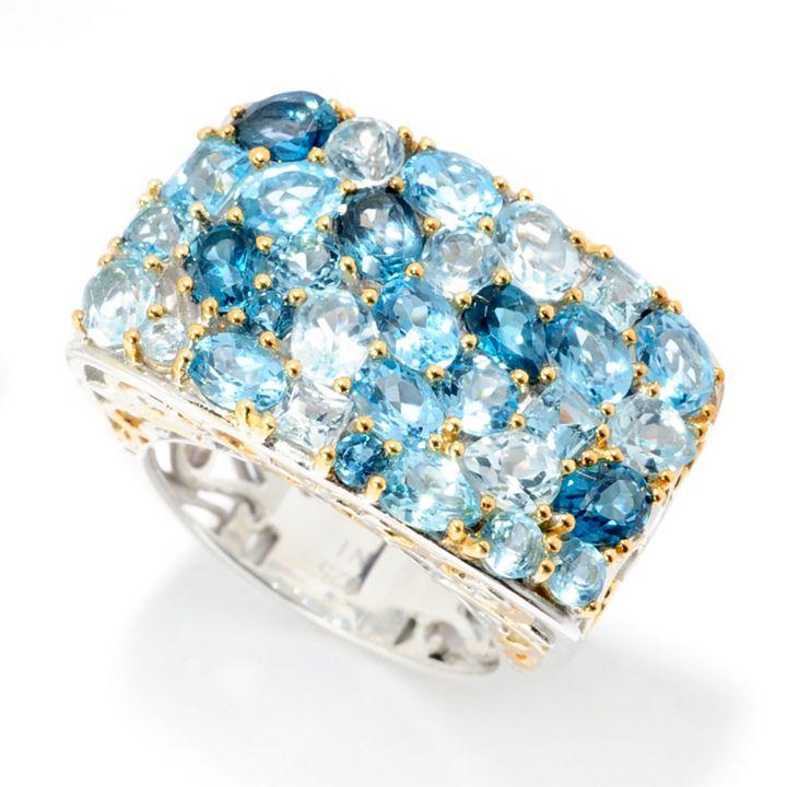 Jewelry Flash Sale at ShopHQ | 187-622 Gems en Vogue Final Cut 5.08ctw Shades of Blue Topaz East-West Cluster Ring