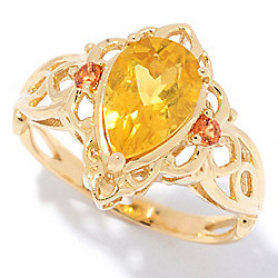 Gems en Vogue The Vault 14K Gold 1.58ctw Yellow Beryl & Orange Sapphire Teardrop Ring