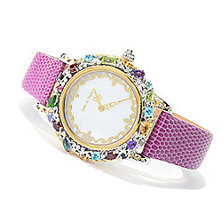 "Gems en Vogue Final Cut Multi Gemstone ""Carnaval"" Leather Strap Watch"