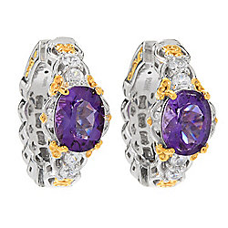 Earrings at ShopHQ 187-649 Gems en Vogue Final Cut 3.96ctw Ametista do Sul Amethyst & White Zircon Hoop Earrings - 187-649