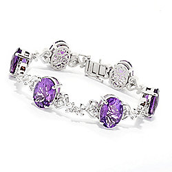 Bracelets at ShopHQ 187-712 Dallas Prince Sterling Silver Choice of Size African Amethyst & Zircon Bracelet - 187-712
