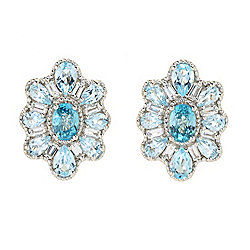 Dallas Prince Sterling Silver 7.69ctw Blue Zircon & Topaz Earrings