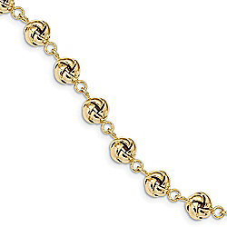 "14K Gold 7"" Polished Love Knot Station Bracelet, 8.13 grams"