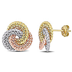 Julianna B 14K Tri-Tone Stud Earrings, 2.95 grams
