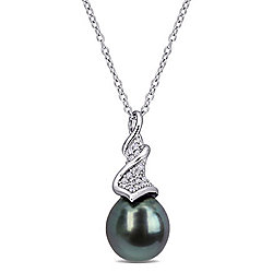 "Julianna B Sterling Silver 9-9.5mm Black Tahitian Cultured Pearl & Diamond Pendant w/ 18"" Chain"
