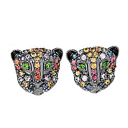 Gems en Vogue 3.02ctw Multi Sapphire & Chrome Diopside Panther Earrings