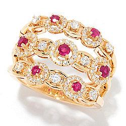 Rings - 188-008 Sonia Bitton Galerie de Bijoux® 14K Gold 1.12ctw Diamond & Ruby 3-Row Flex Ring - 188-008