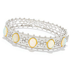 Dallas Prince Sterling Silver Ethiopian Opal & White Zircon Bangle Bracelet