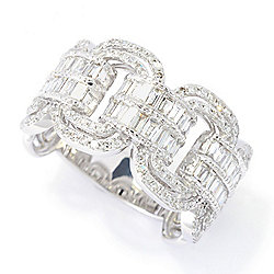 "Effy ""Classique"" 14K White Gold 0.79ctw Diamond Double Row Interlocking Ring"
