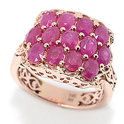 Gems en Vogue The Vault 14K Rose Gold 3.12ctw Mozambique Ruby 3-Row Ring