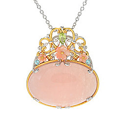 Gems en Vogue Final Cut 30 x 20mm Opaque Morganite, Carved Shell Flowers & Multi Gem Pendant