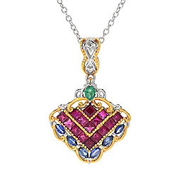 "Gems en Vogue Final Cut 3.01ctw Ruby, Emerald & Sapphire Pendant w/ 18"" Cable Chain"