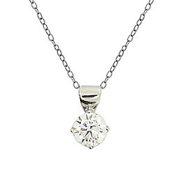"Valitutti Star Cut 14K White Gold 2.17 DEW Round Simulated Diamond Pendant w/ 18"" Cable Chain"