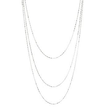 Sorrento Italian Silver Choice of Length 3-Strand Bar Link Chain Necklace - 188-309