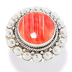 Artisan Silver by Samuel B. Spiny Oyster w/ Bead Halo Design Ring