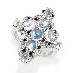 Victoria Wieck Rainbow Moonstone, Black Spinel & White Zircon Cross Ring