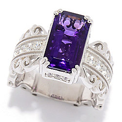 Rings at ShopHQ 188-419 Dallas Prince Sterling Silver 4.27ctw Amethyst & White Zircon Filigree Band Ring - 188-419
