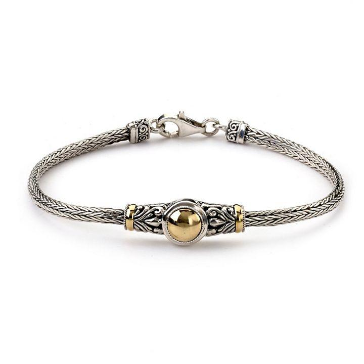 Daily Digital Deals at ShopHQ - 188-466 Artisan Silver by Samuel B. 18K Gold Accented Tulang Naga Bracelet, 9.5 grams