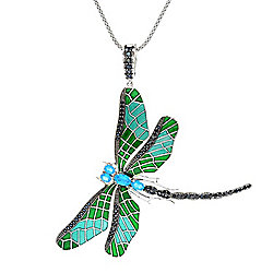 188-481 - Dallas Prince Sterling Silver 1.88ctw Neon Apatite & Black Spinel Dragonfly Pendant w 18 Chain - 188-481
