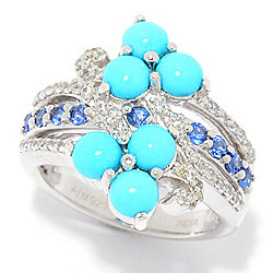 Gem Treasures® Sleeping Beauty Turquoise, Ceylon Sapphire & White Zircon Ring