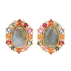 Victoria Wieck Labradorite, Multi Color Sapphire & White Zircon Stud Earrings