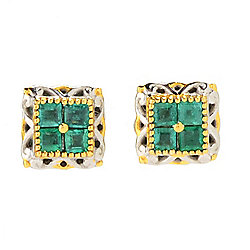 Gems en Vogue Final Cut Square Zambian Emerald Cluster Stud Earrings