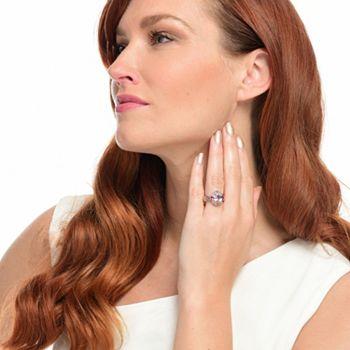 Gems en Vogue  188-698 Gems en Vogue 3.62ctw 10 x 8mm Oval Kunzite & Rose Garnet Ring - 188-698