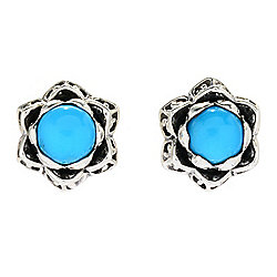 Artisan Silver by Samuel B. Sleeping Beauty Turquoise Flower Stud Earrings