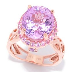 Hall of Style 188-714 Hall of Style 7.04ctw Kunzite & Pink Sapphire Crisscross Band Cocktail Ring - 188-714