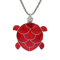 "Artisan Silver by Samuel B. Red Coral Turtle Pendant w/ 18"" Chain & 3"" Ext"