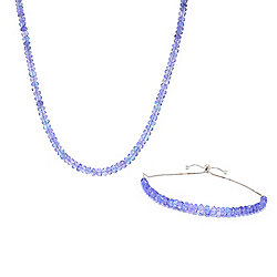 "Gemporia Tanzanite Beaded 18"" Necklace & Adjustable Slide Bracelet Set"