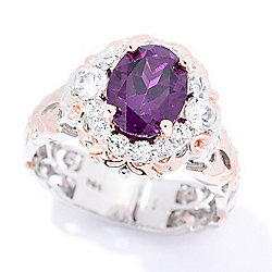 Gems en Vogue 3.12ctw Oval Color Change Purple Garnet & White Zircon Halo Ring